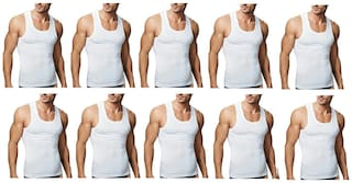 VIP 10 Sleeveless Round Neck Men Vest - White