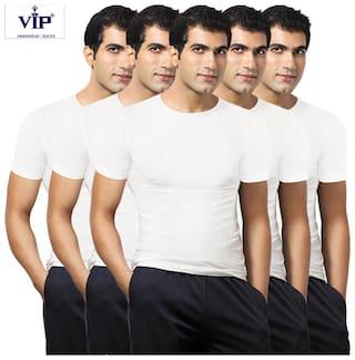 VIP 5 Half Sleeves Round Neck Men Vest - White