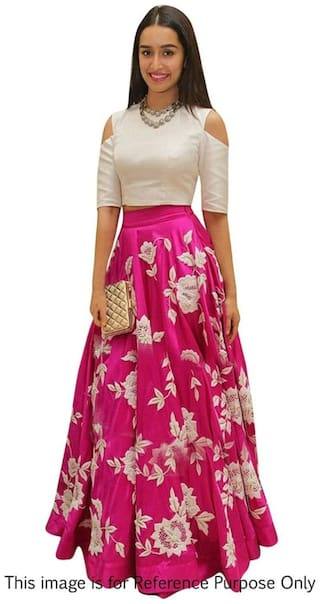 e8f37ed2f125 Vipul Bollywood Designer Lehenga Choli WHITE & Pink Party Wear Silk Lehenga  ( best birthday wedding