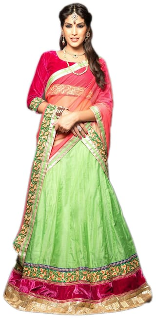 8f274ca126 Vipul Bollywood Designer Pink and Lehenga-Green Choli-Velvet Lehenga Choli  ( best birthday