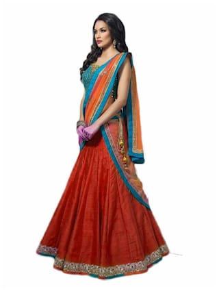 40b0f9bafd734 Vipul Bollywood Designer Blue and RED Banglori Silk Lehenga Choli ( best  birthday wedding anniversary gift