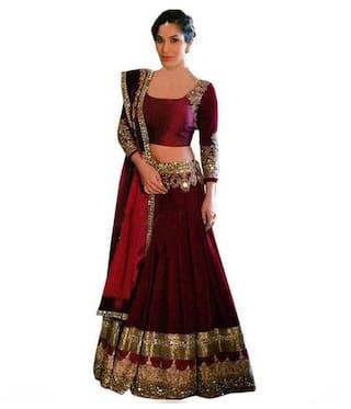 8b6b77561cd86 Vipul Bollywood Designer Maroon Banglori Silk Lehenga Choli ( best birthday  wedding anniversary gift for mother