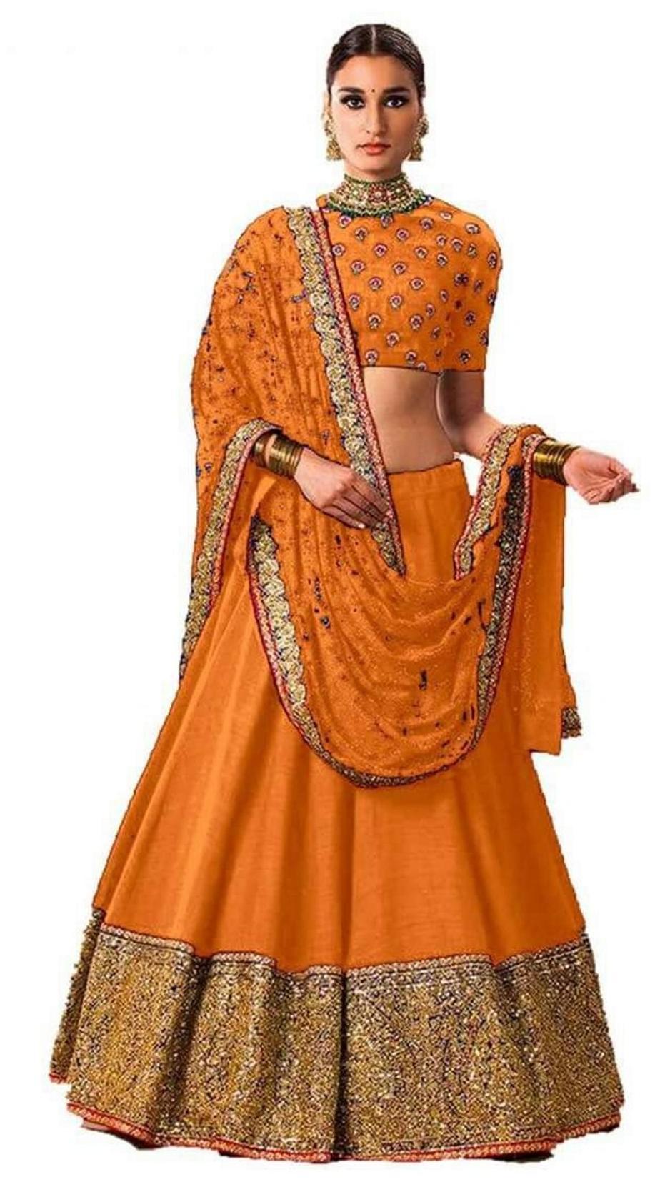6747327407 Buy Vipul Bollywood Designer ORANGE and YELLOW Banglori Silk and ...
