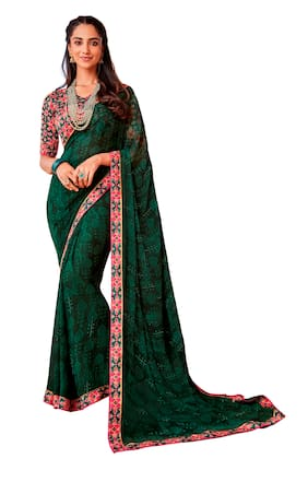 Vipul Women Faux Georgette Party Wear Saree With Blouse (Dark Green)