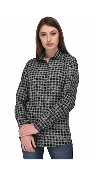 Viral Girl Women's Casual Printed Black Cotton Shirt-Pack of 1