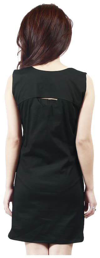 Cotton Sleeveless Dress Solid Black Visach Women's w6qEWn58E