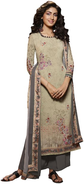 Vishwam Beige Unstitched Kurta with bottom & dupatta With dupatta Dress Material