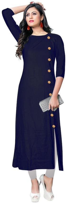 VISVA DESIGNER Ready Made Stylish Plain Rayon Straight Side Button No Slit Kurti For Women Blue