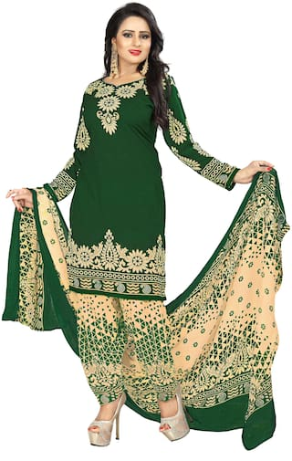 Viva N Diva Bottle Green Color Poly Cotton Dress Material With Dupatta