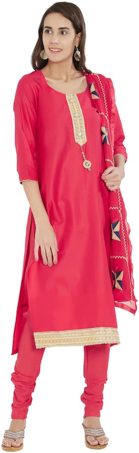 Viva N Diva Red Color Cotton Dress Material With Dupatta