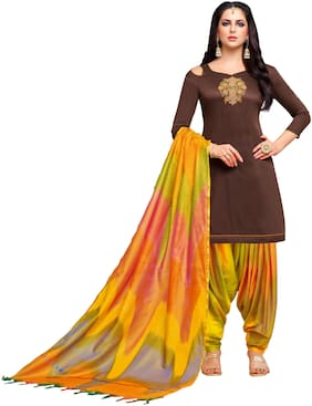 Viva N Diva Brown Color Silk Embroidered Patiala Dress Material