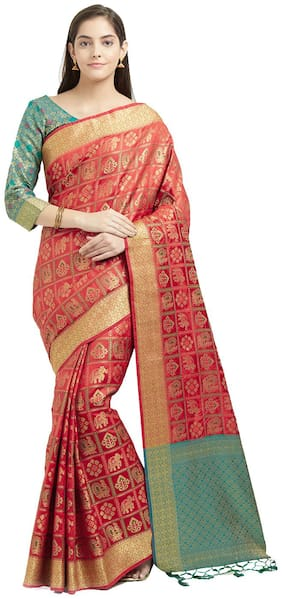 Viva N Diva Red & Green Color Art Silk Saree With Blouse Piece
