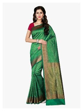 Viva N Diva Silk Patola Zari Work Saree - Green