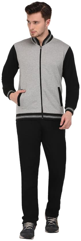 Vivid Bharti Men Grey Solid Regular Fit Track Suit