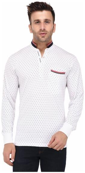 Vivid Bharti Men White Loose fit Cotton Mandarin collar T-Shirt - Pack Of 1