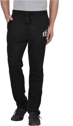 Vivid Bharti Men Cotton Blend Track Pants - Black