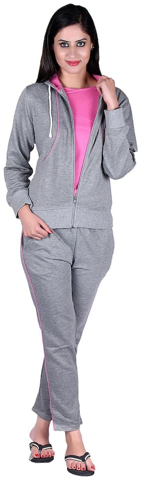 Vivid Bharti Women Fleece Track Suit - Grey