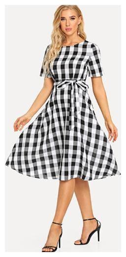 VIVIENT Crepe Checked A-line dress Multi