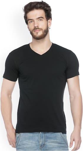 JORKK Men Regular fit V neck Solid T-Shirt - Black