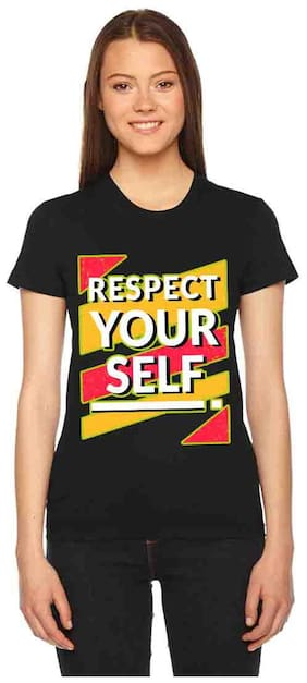 Vogant Women Black Regular fit Round neck Cotton T shirt