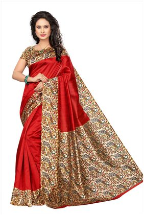 Voila Silk Kalamkari Block Print Work Saree - Red