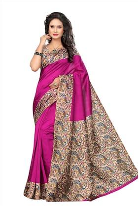 Voila Silk Kalamkari Zari work Saree - Pink , With blouse