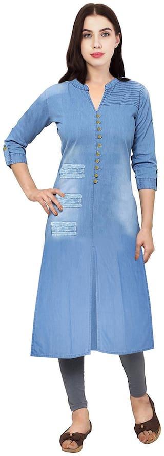 Voom Women Blue Embroidered Straight Kurta