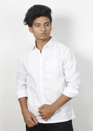 VOOZ Men White Solid Regular Fit Casual Shirt