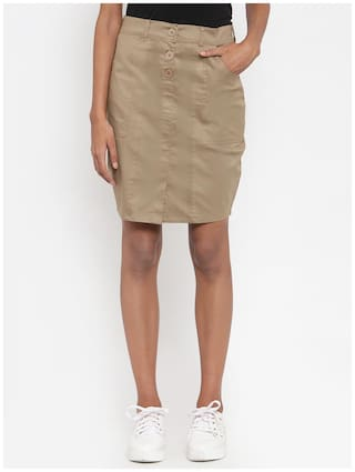 VOXATI Solid Pencil skirt Midi Skirt - Khaki