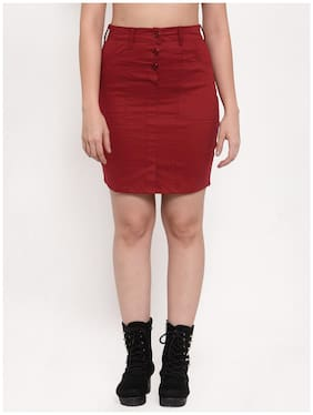 VOXATI Solid Pencil skirt Midi Skirt - Maroon