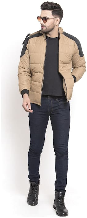 VOXATI Men Blended Parka Jacket -Beige