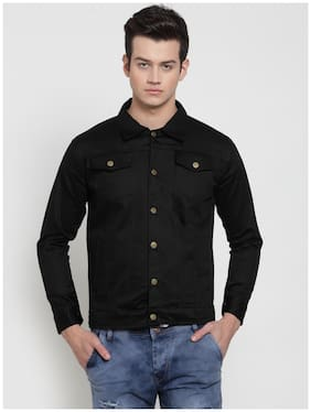 VOXATI Men Black Solid Denim jacket