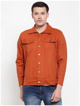 VOXATI Men Orange Solid Denim jacket