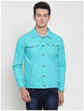 VOXATI Men Turquoise Solid Denim jacket