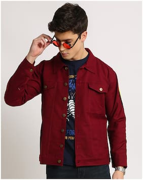 VOXATI Men Maroon Solid Denim jacket