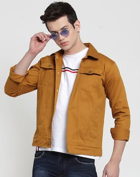 VOXATI Men Beige Solid Denim jacket