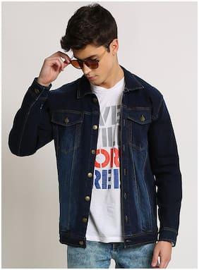 VOXATI Men Navy blue Solid Denim jacket
