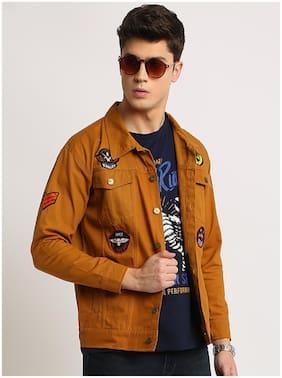 VOXATI Men Beige Solid Denim jacket