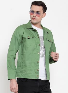 VOXATI Men Green Solid Denim jacket