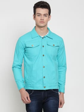 VOXATI Men Turquoise Solid Denim jacket