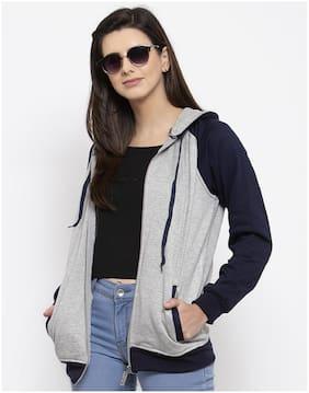 VOXATI Women Colourblocked Sweatshirt - Grey & Blue