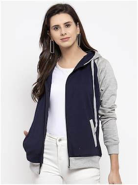 VOXATI Women Colourblocked Sweatshirt - Blue & Grey