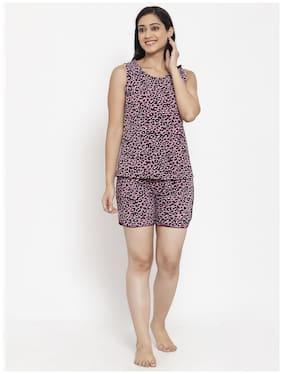 VOXATI Women Cotton Animal Print Top and Shorts Set - Multi