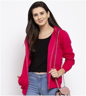 VOXATI Women Solid Sweatshirt - Pink