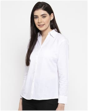 VOXATI Women White Solid Slim Fit Shirt