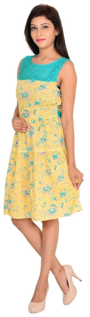 Sleeveless Casual Fashion Vs Dress Printed Yellow Cotton ZtR4xnHqW4