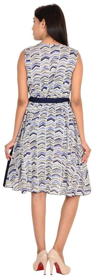 Multi Sleeveless Dress Vs Color Casual Printed Fashion Rayon wAWfqBgR