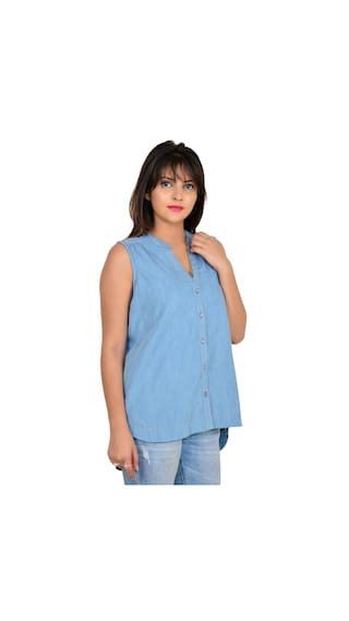 Women's Sleeveless Vs Fashion Blue Denim Shirt Casual CRfqgxFw5