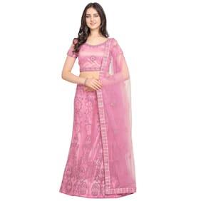 Vsales Women's Pink Semi Stiched Embroidered Net Lehenga Choli