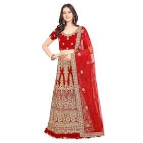 Vsales Women's Red Semi Stiched Embroidered Velvet Lehenga Choli